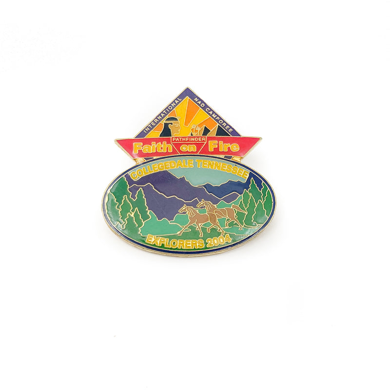Collegedale Tennessee Explorers Club Pin - Faith on Fire 2004