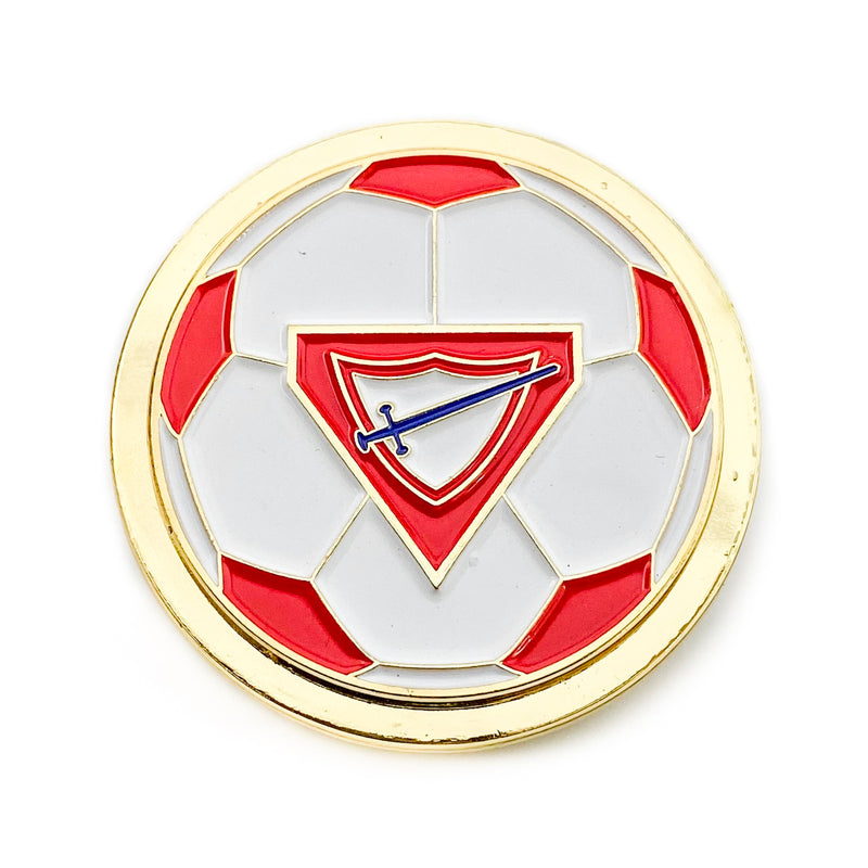 Pathfinder Soccer Ball Spinner Pin (Red) - Pinfinder Club