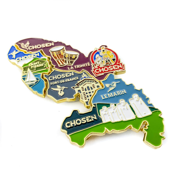 Chosen Martinique Map 4 Pin Set (Bundle) - Pinfinder Club