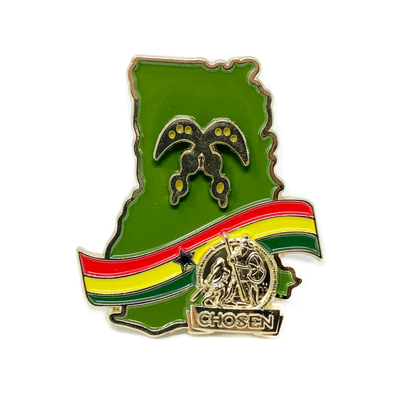 Ghana Gold Chosen Sword of War Pin (Green) - Pinfinder Club