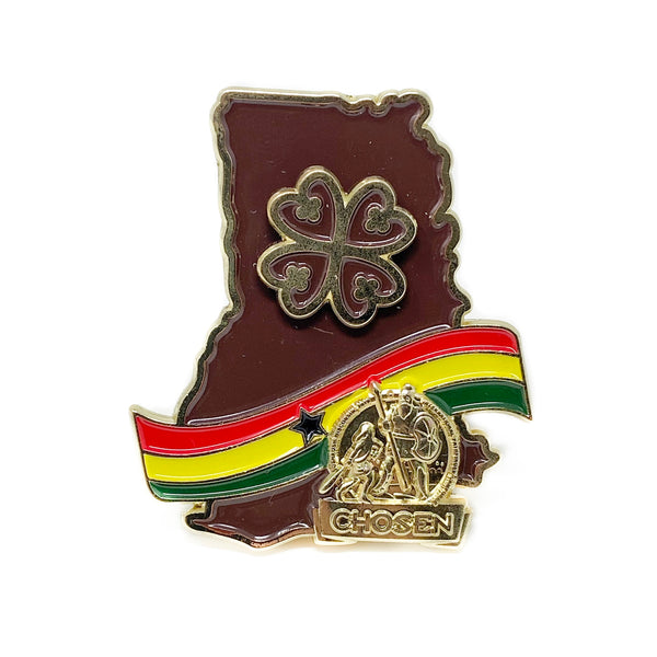 Ghana Gold Chosen Nyame Dua Pin (Brown) - Pinfinder Club