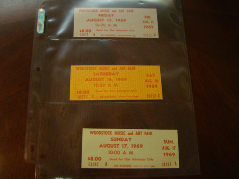 Woodstock Tickets 1969