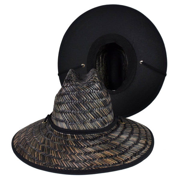 Black Straw Lifeguard Hat - Black Cloth Under Brim