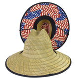 Straw Lifeguard Hat - Antique Flag Cloth Under Brim
