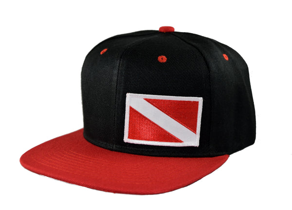 Dive Flag Flat Billed Snapback Cap - Diver Down