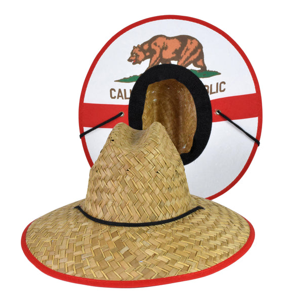 Straw Lifeguard Hat - Cali Cloth Under Brim