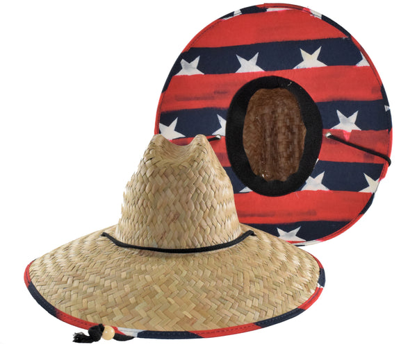 Straw Lifeguard Hat - Distressed Stars & Stripes Cloth Under Brim