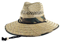 Straw Lifeguard Hat Vented- Camo Cloth Under Brim