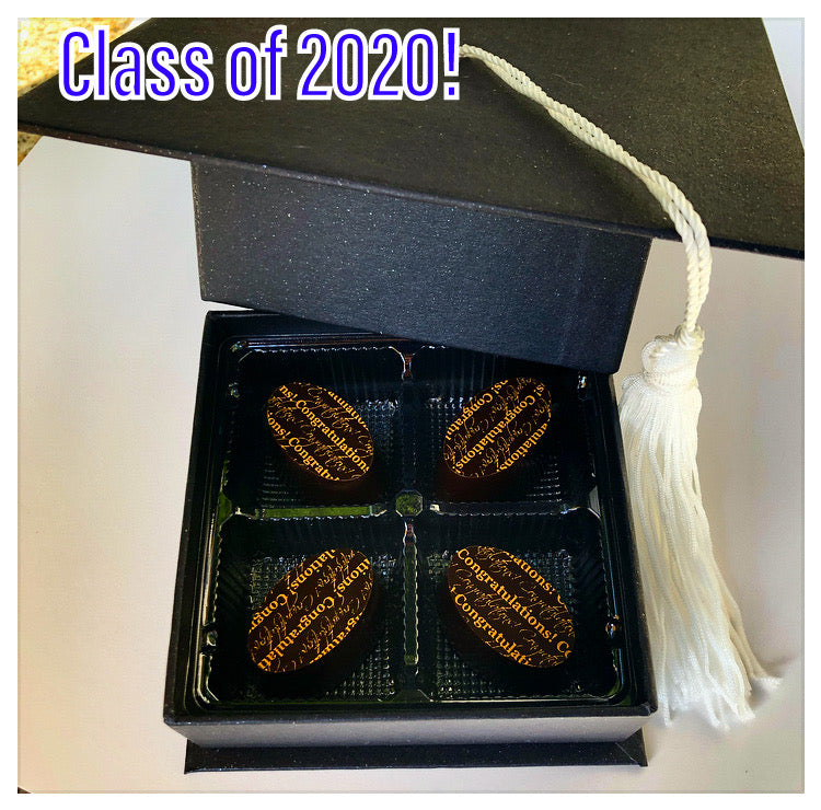 Congratulate a Graduate!!  4 Piece box of Classic Dark Chocolate Ganache Truffles