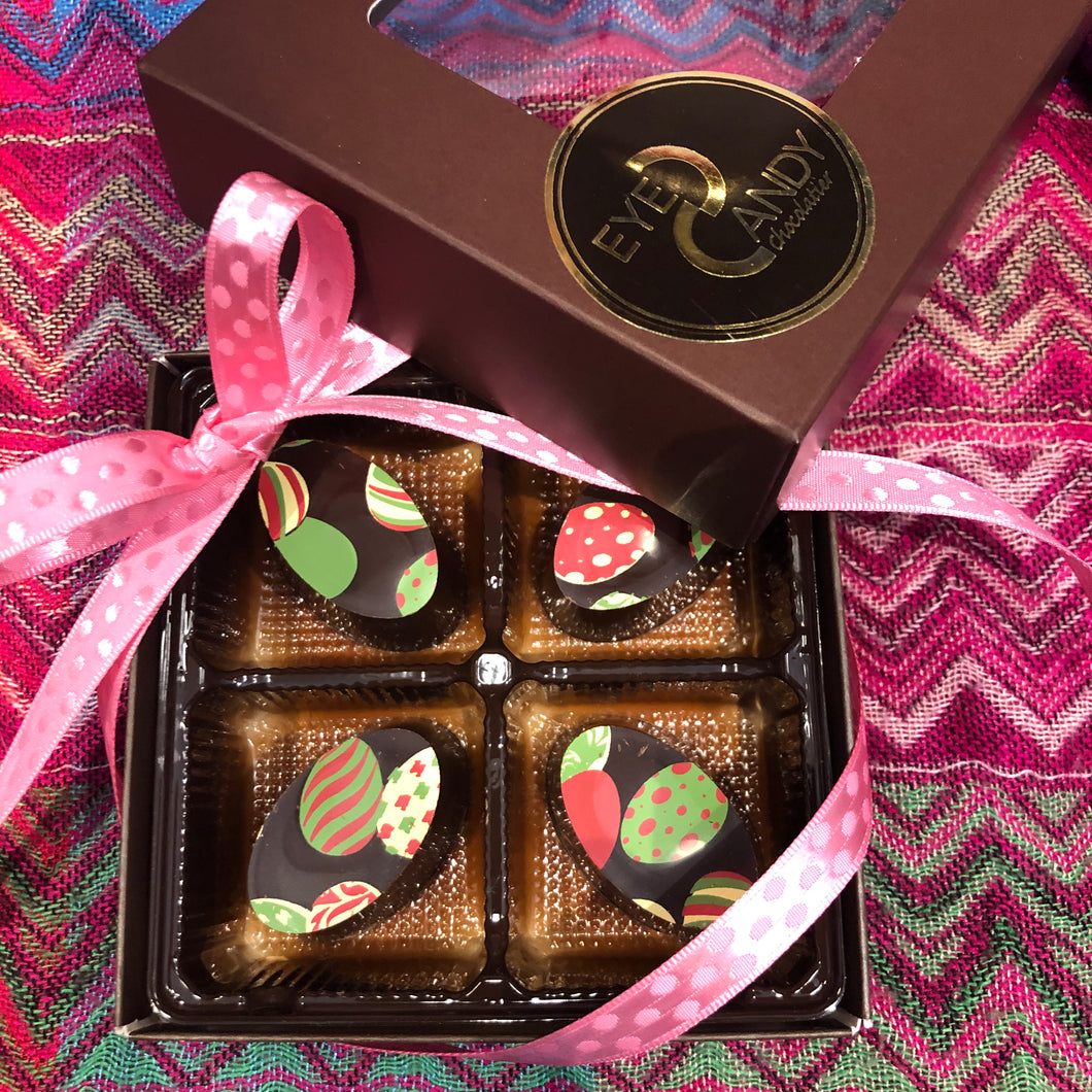 Box of 4- Easter Chocolate Truffles- Classic Dark Ganache