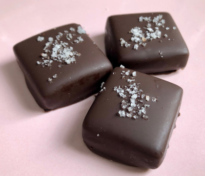4 pc Dark Chocolate Covered Caramel with Fleur de Sel