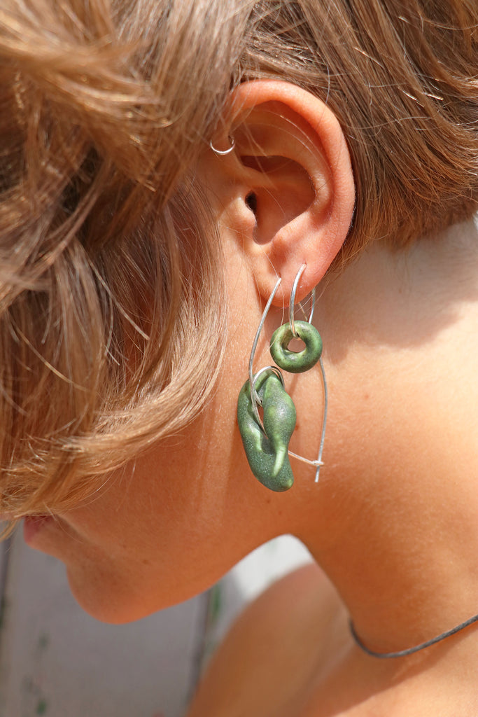 Clay Offcut Spiral Earrings // Forest Green