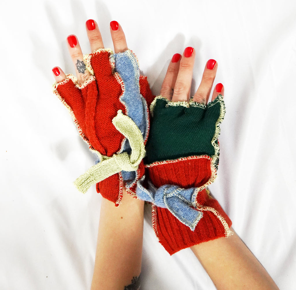 Patchwork Knit Gloves