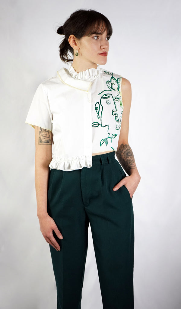 Abstract Cropped Blouse