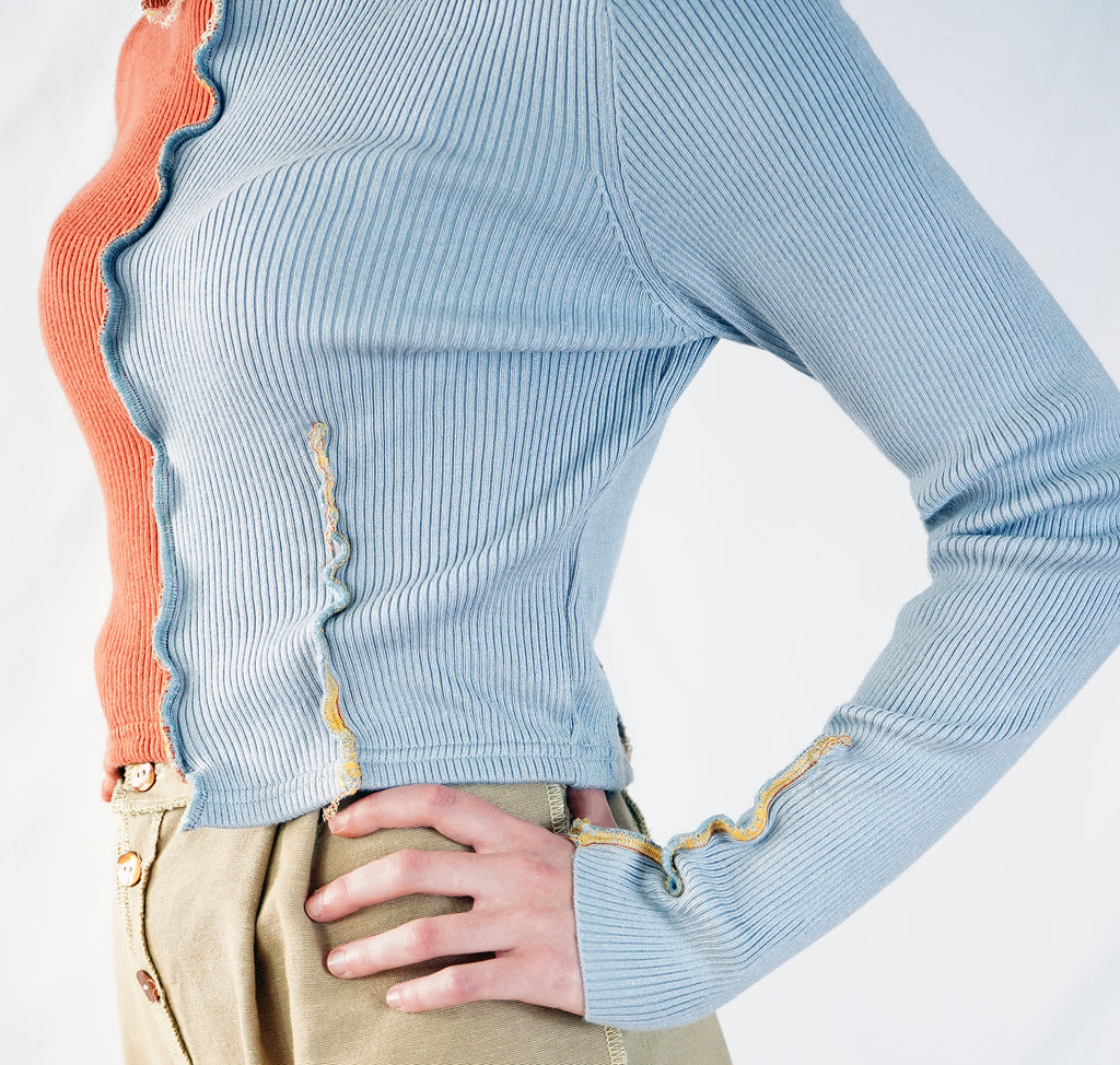 Blue & Coral Patchwork Turtleneck