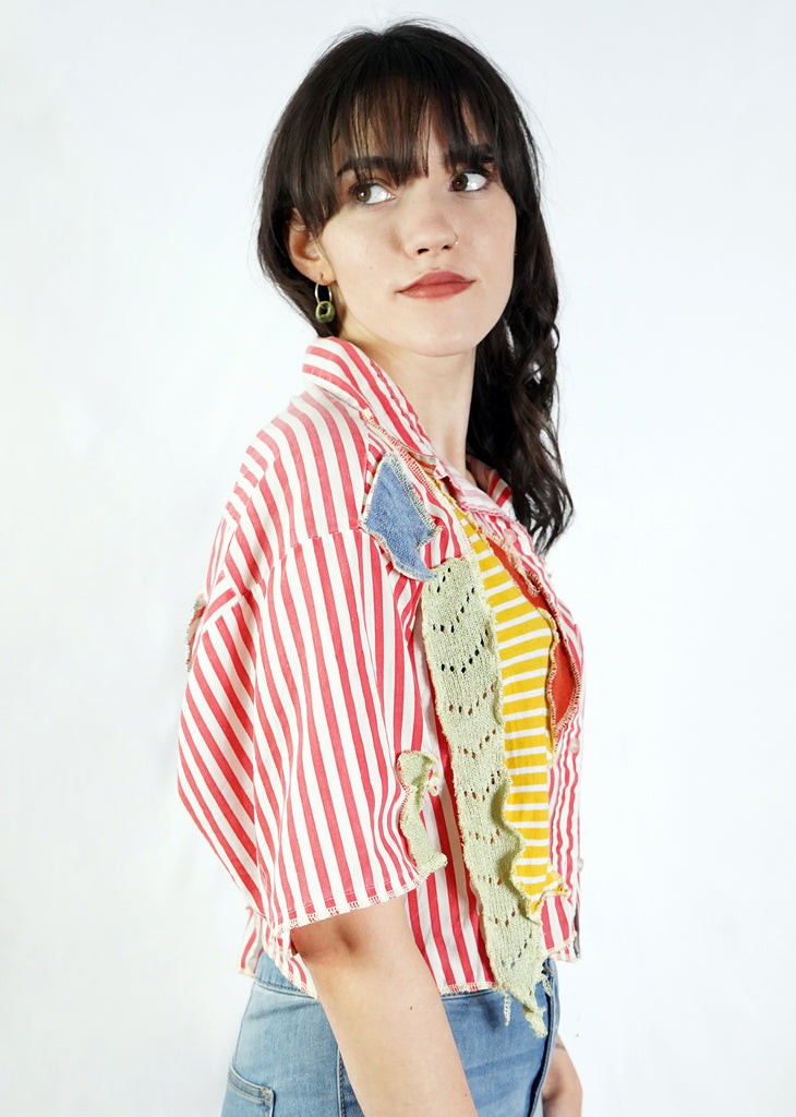 Patchwork Cropped Shirt
