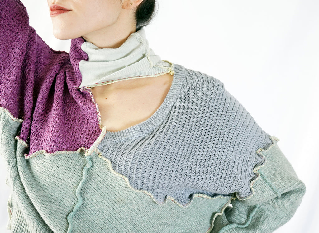 Grey & Purple Patchwork Knit