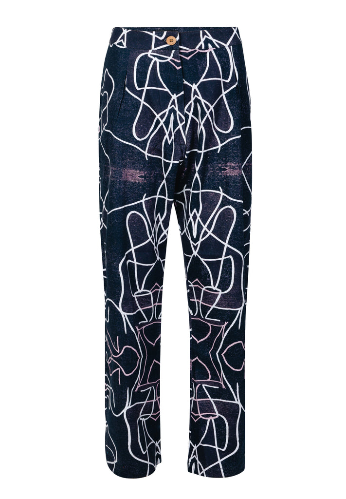 Abstract Black and White High Waisted Trousers