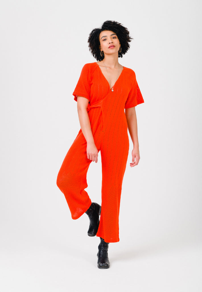Mandarin Red Jumpsuit