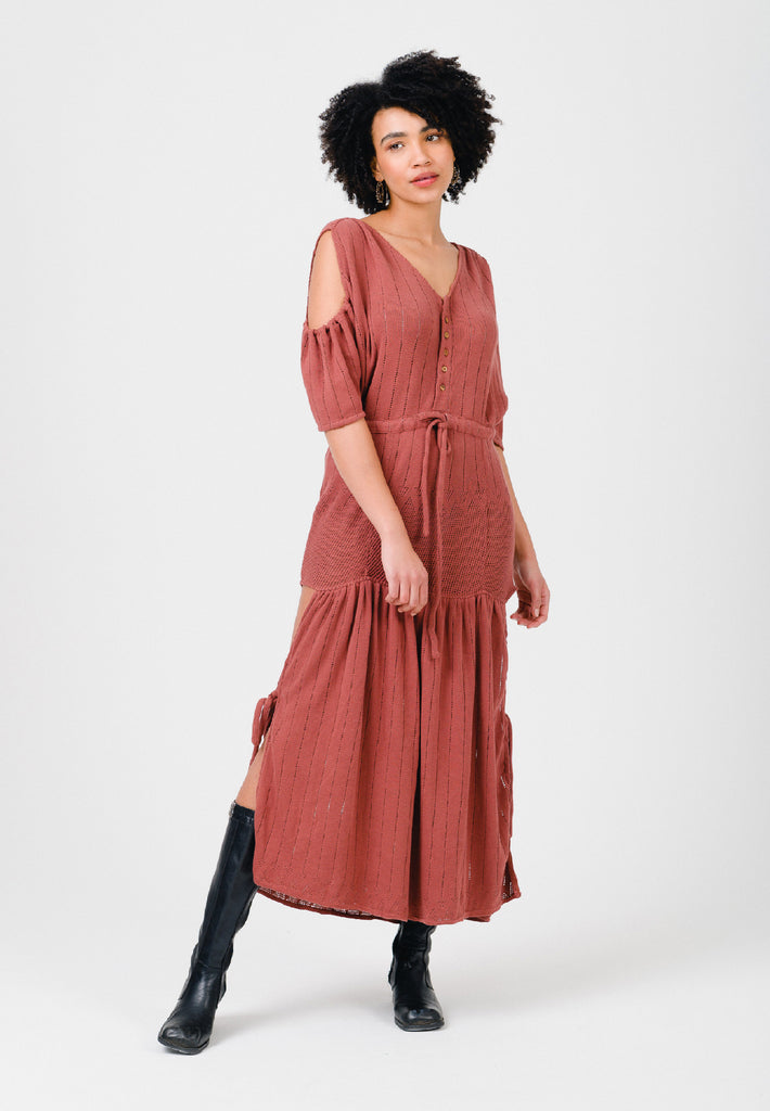 Clay Red Cold Shoulder Maxi Dress