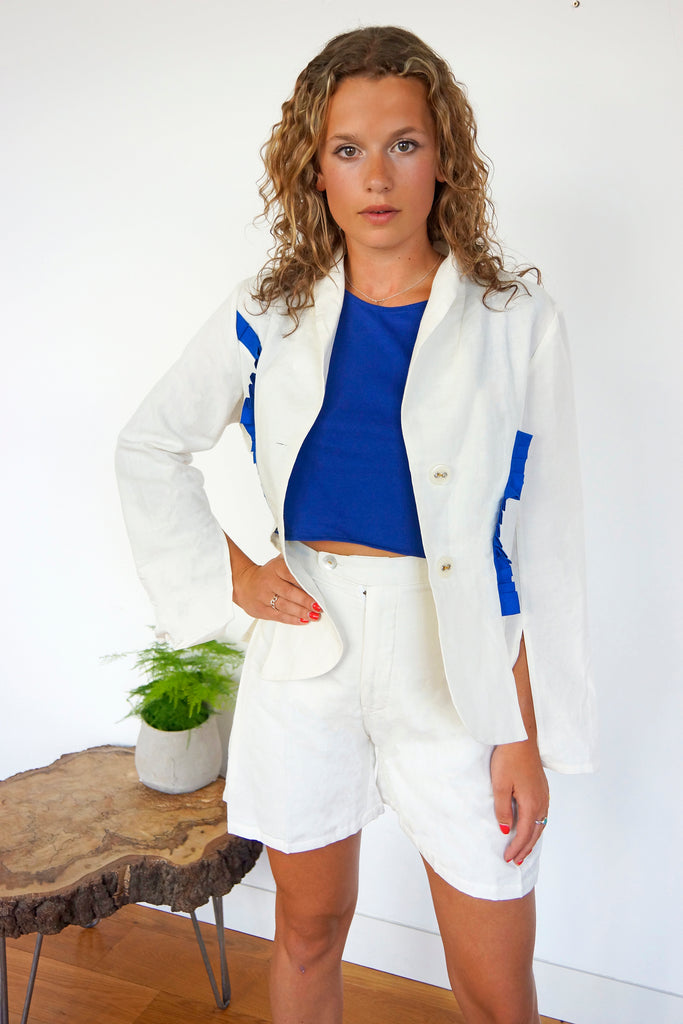 Linen Blazer with Royal Blue Details