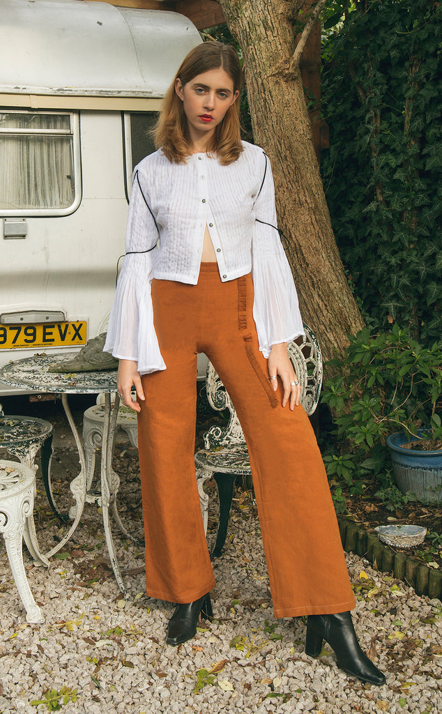 Ruffle Brown Trousers