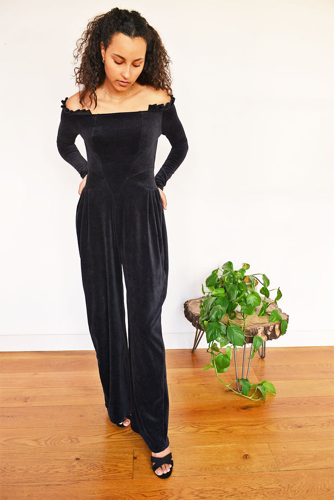 Organic Cotton Velvet Jumpsuit. Ideal for a night out, this velvet jumpsuit is cut from 100% organic cotton.