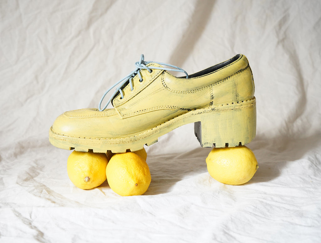 Lemon Yellow Painted Shoes