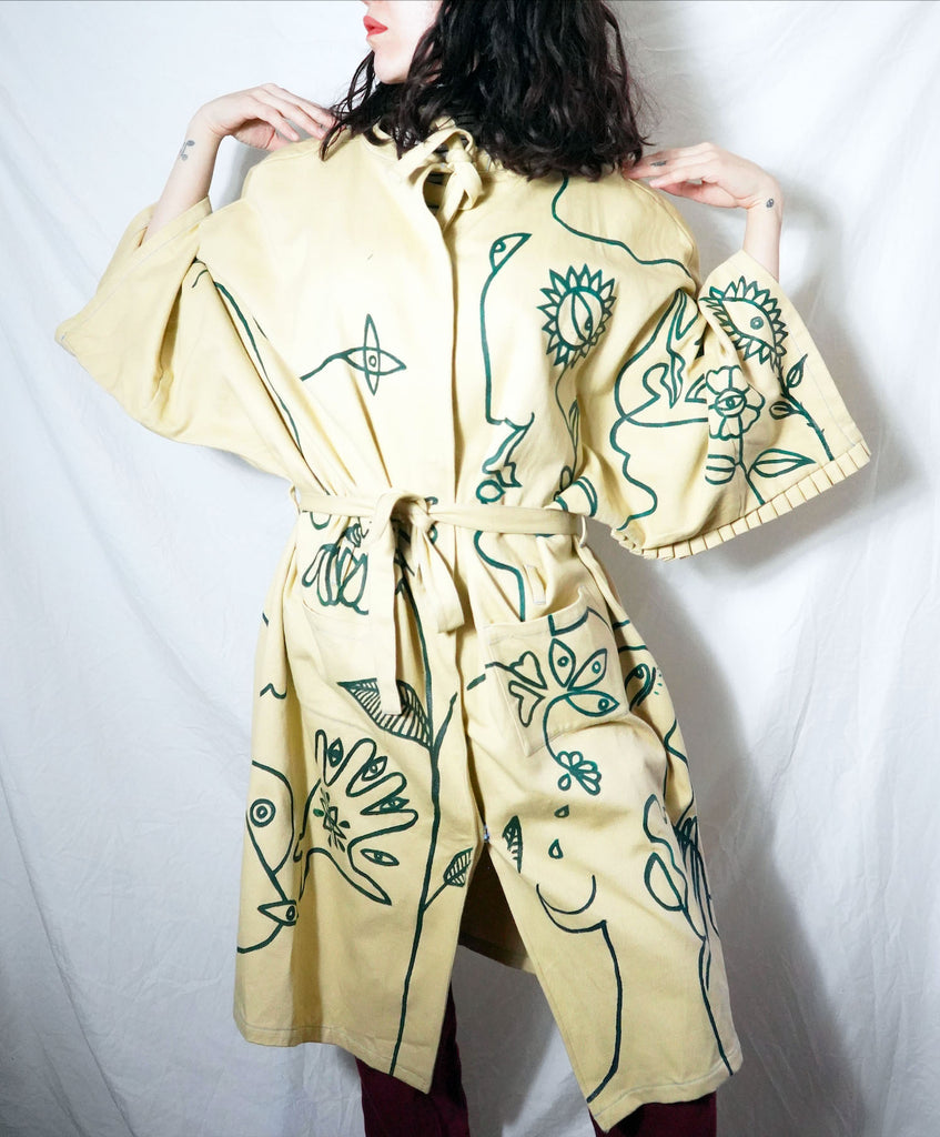 Abstract Garden Trench Coat