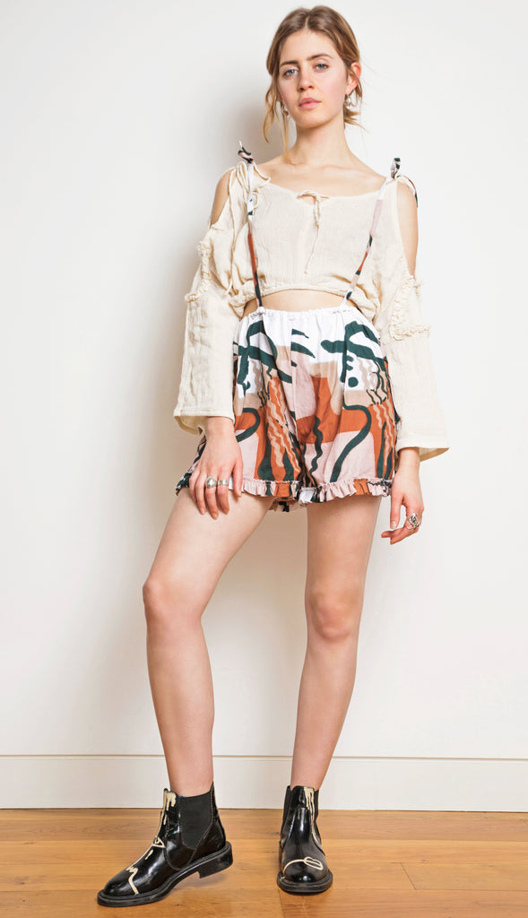 Printed Suspender Shorts