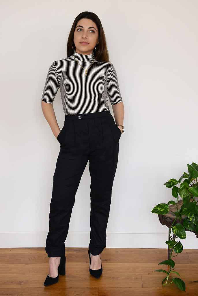 Organic Cotton Tailored Trousers. A must-have piece for every professional lady. These high waisted, tailored suit trousers are designed to flatter & empower.