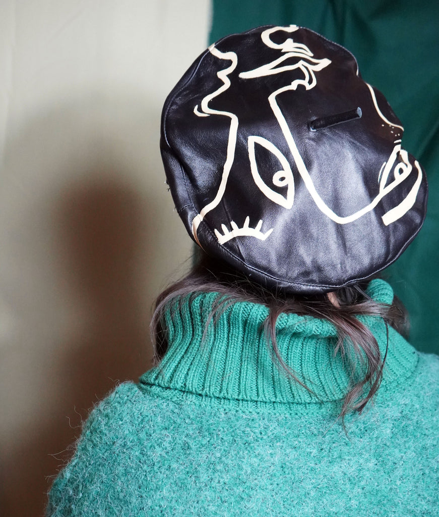 Abstract Vintage Leather Beret