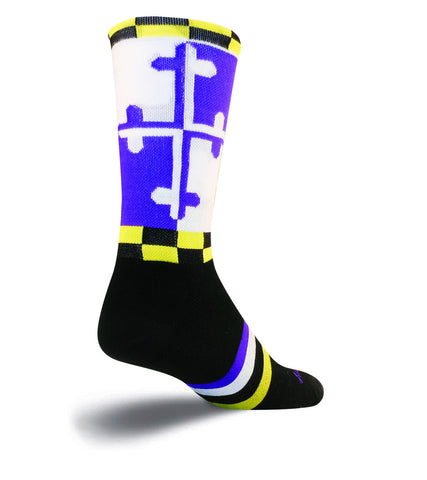 SockGuy LAX Maryland Mens Purple Socks L