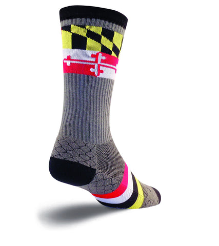 SockGuy LAX Maryland Mens Grey Socks S
