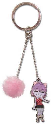 Black Cat Rinslet and Pink Fuzzy Ball Keychain