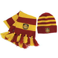 Harry Potter Hogwarts Yellow and Red Knit Beanie Hat  and Scarf Set