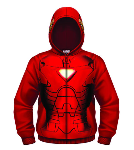 IRON MAN HEAD SHOT RED ZIP-UP HOODIE XL