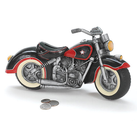Black & Red Motorcycle Coin Bank
