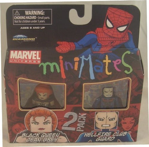 Marvel Minimates Series 34 Mini Figure 2Pack Black Queen Jean Grey & Hellfire Club Guard