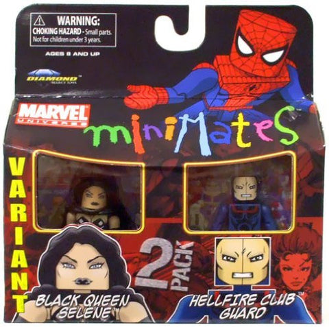Marvel Minimates Series 34 Mini Figure 2Pack Black Queen Selene & Hellfire Club Guard Variant