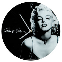 Marilyn Monroe 12 Inch Cordless Glass Wall Clock