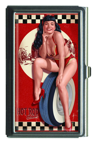 Bettie Page Hot Rod Business Card Case