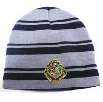 Harry Potter Black & Grey Striped Hogwarts Logo Beanie Hat