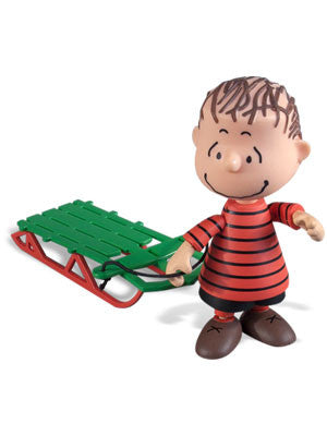 Peanuts Christmas Linus Van Pelt with Snow Sled Mid Scale Action Figure