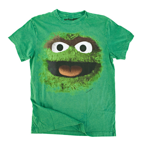 Sesame Street Big Face Oscar The Grouch Mens Green T-Shirt | L
