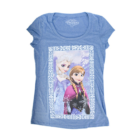 Disney Frozen Anna and Elsa Sisters Juniors Heather Blue T-Shirt | S