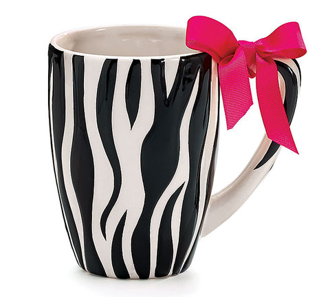 Zebra Print With Pink Bow Ceramic Mug
