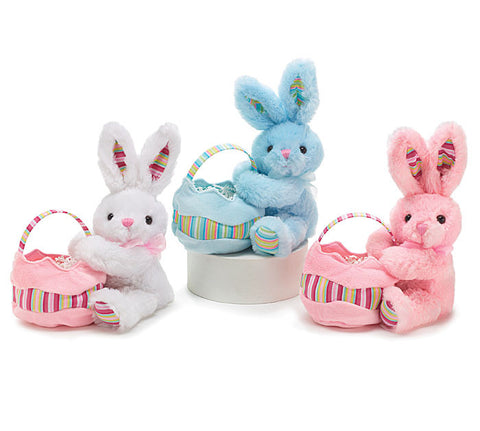 Easter Bunny with Basket Plush Toy (Assorted Colors)