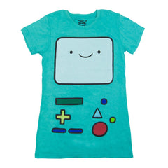 Adventure Time I Am Beemo Juniors Teal Blue Shirt | S