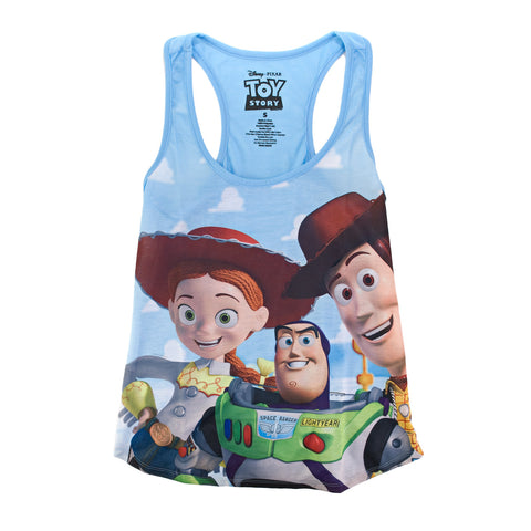 Toy Story Group Pose Juniors Blue Tank Top Shirt | XL